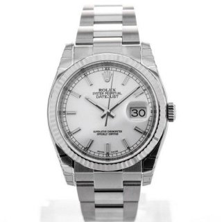 Rolex Oyster Perpetual Datejust 36 Steel White Gold Silver Dial